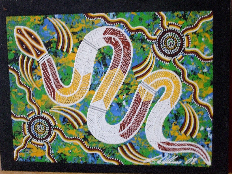 Aboriginal Art Australia Rainbow Serpent Dreaming Authentic