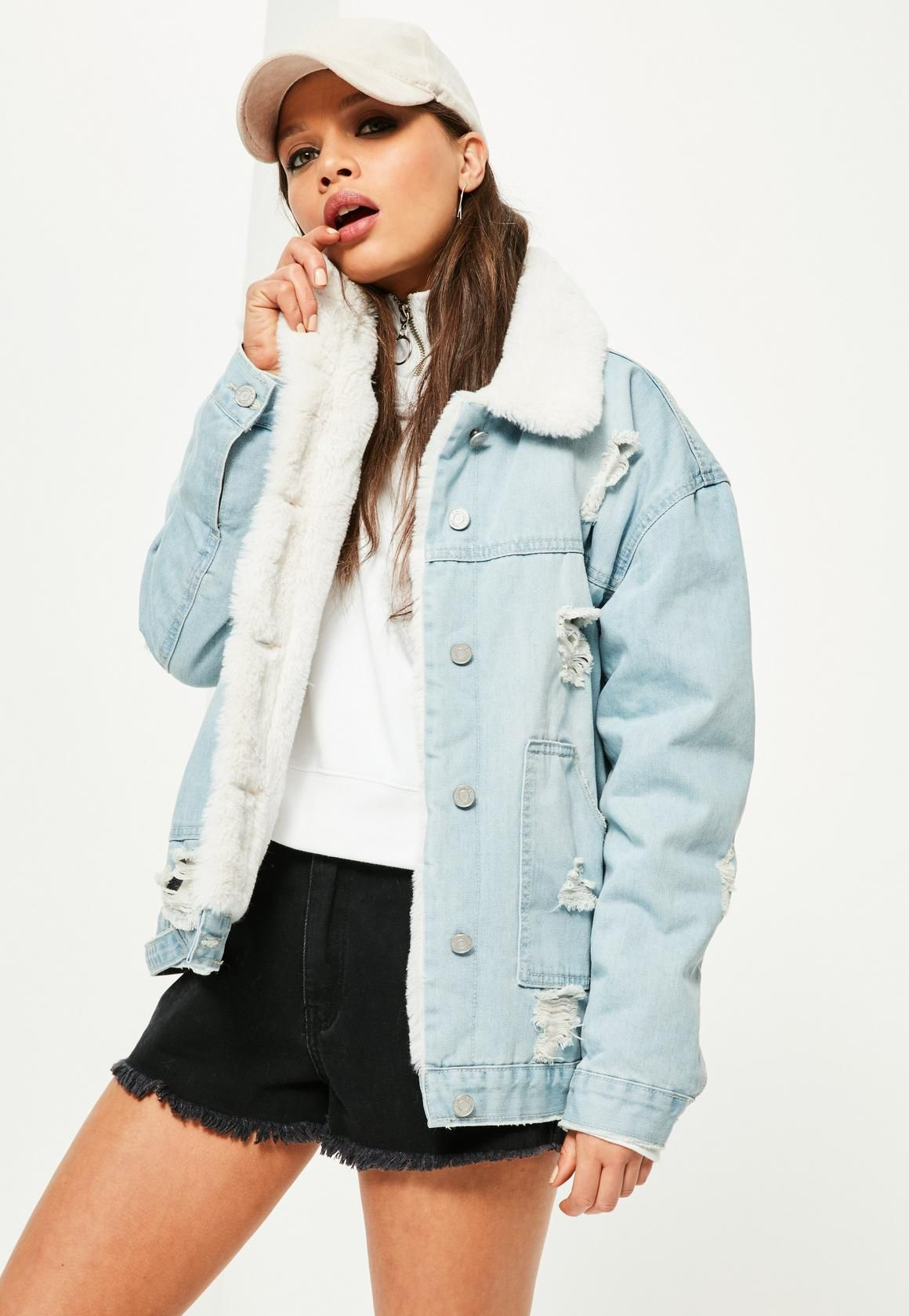 Missguided - Blue Faux Fur Lined Ripped Denim Jacket ...