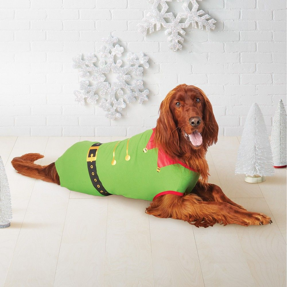Pet Holiday Elf Pajamas Green XL Elf pets