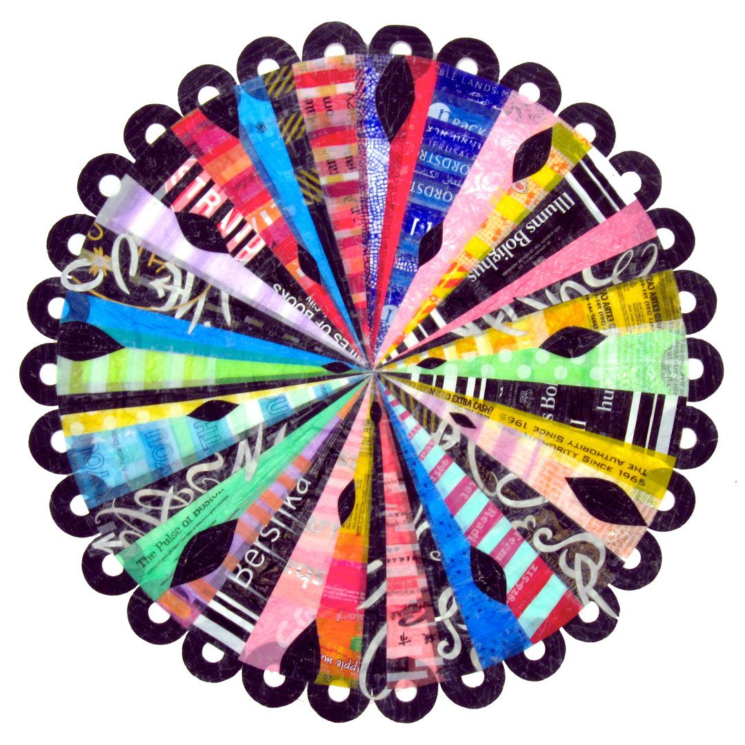 Check out Virginia Fleck, master of recycled plastic bags turned into mandalas. I am blown away.