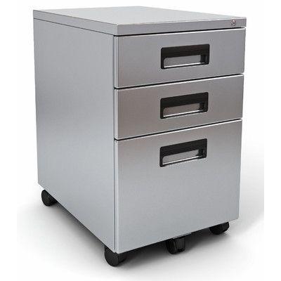 Paragon Furniture 3 Drawer Mobile File It Pedestal Finish: Titanium