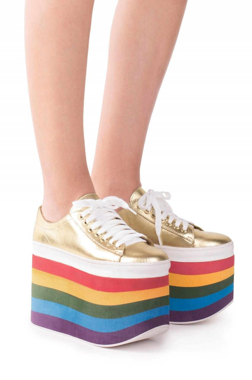 Jeffrey Campbell Shoes SPORTY-TOO Platforms in GOLD RAINBOW