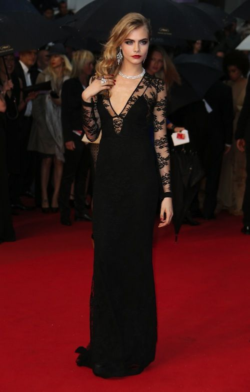 Red Carpet Black Lace Sleeves Cara Delevigne Ball Gown Dresses