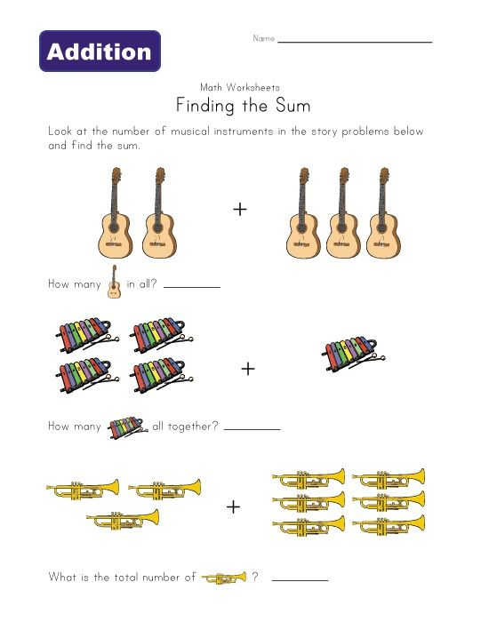 musical instruments addition worksheet | Music and Motion