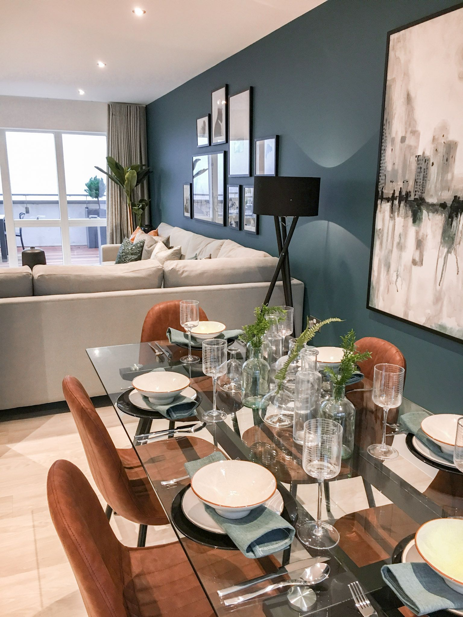 Contemporary New Build Open Plan Living Dining Area With Dark Blue