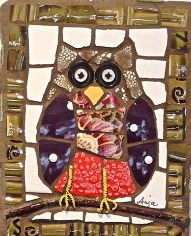 Hoot by Anja Hertle  -  Maplestone Gallery  - Contemporary Mosaic Art