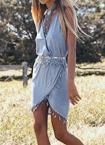 Grey V Neck Sleeveless Tassel Dress - Sheinside.com