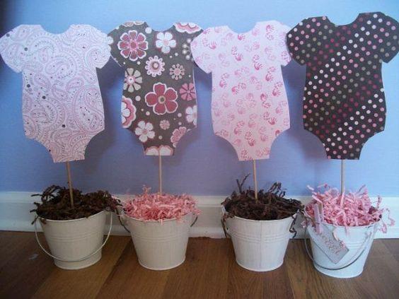 Ideas Para Centros De Mesa Para Baby Shower Sencillos Solobebes Org Girl Baby Shower Decorations Baby Shower Centerpieces Baby Shower Deco