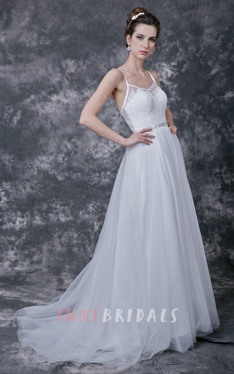 Lace spaghetti strap wedding dress  Spaghetti Strap Low V Neck Long Tulle Dress With Sash and Lace