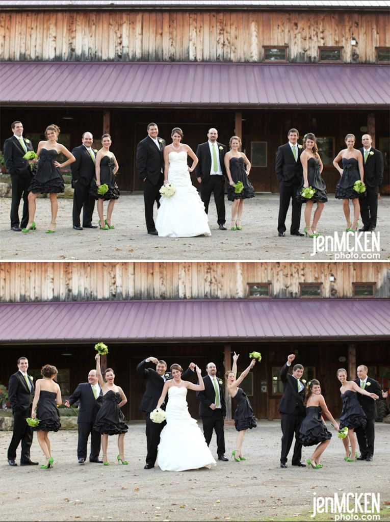 More wedding party grouped into couples with the bride & groom offset and up front. This is so much more appealing to me than many traditional poses for the entire group! #wedding #photography