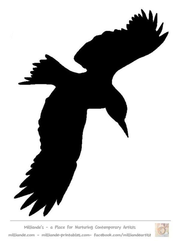 Bird Silhouette Stencil Template Crow At Www Milliande Printables