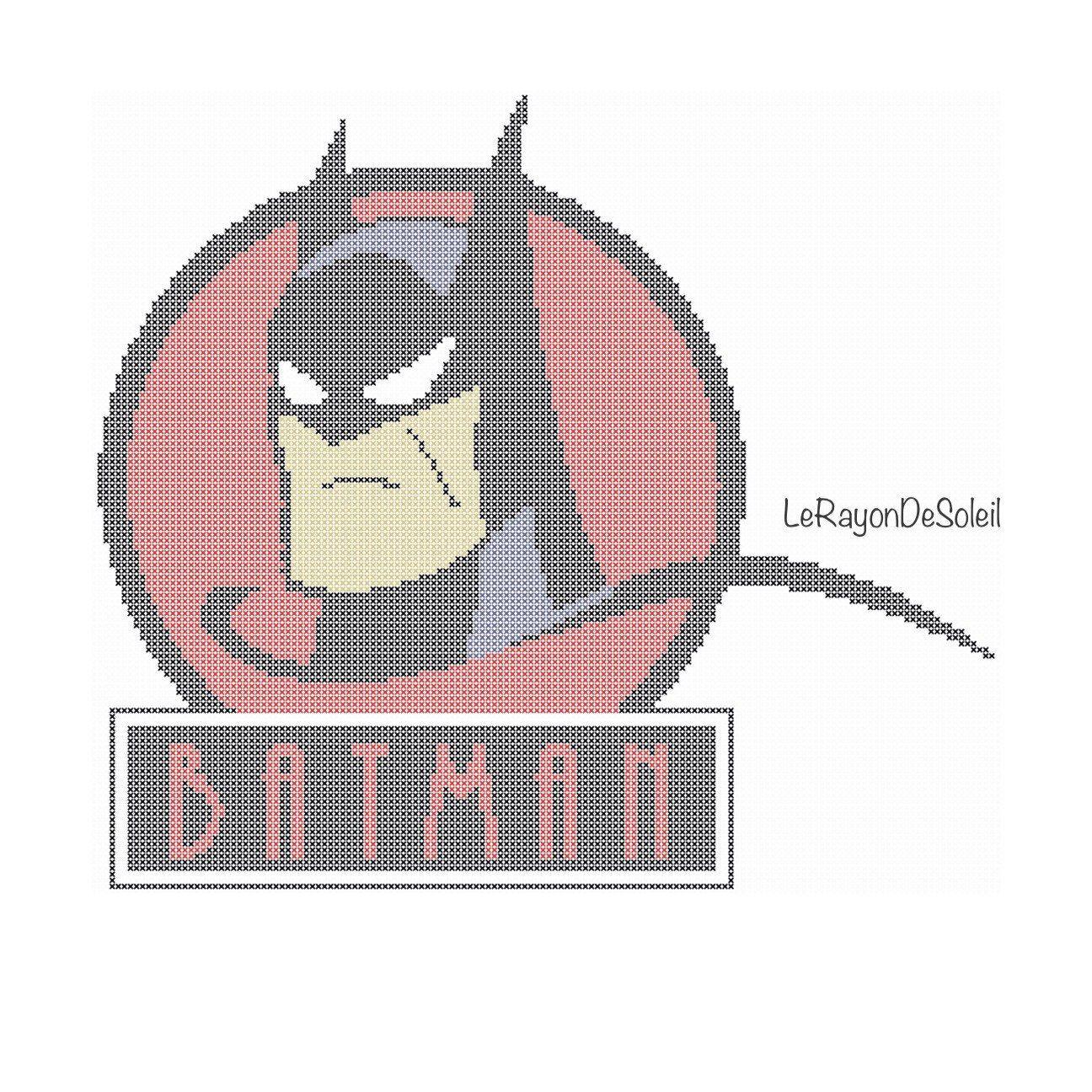 Vintage Batman Modern cross stitch pattern superhero - PDF Instant ...