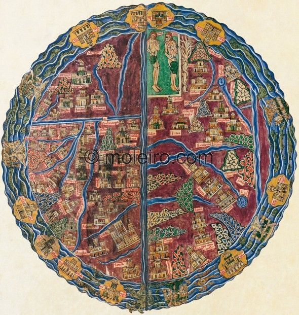 ff.  13v-14r, the world map, Beatus of Liebana, Codex of the Monastery of San Andrés de Arroyo, Palencia