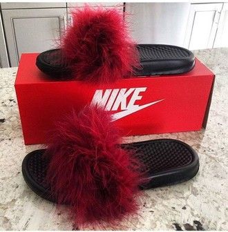 shoes slide shoes slippers nike fluffy