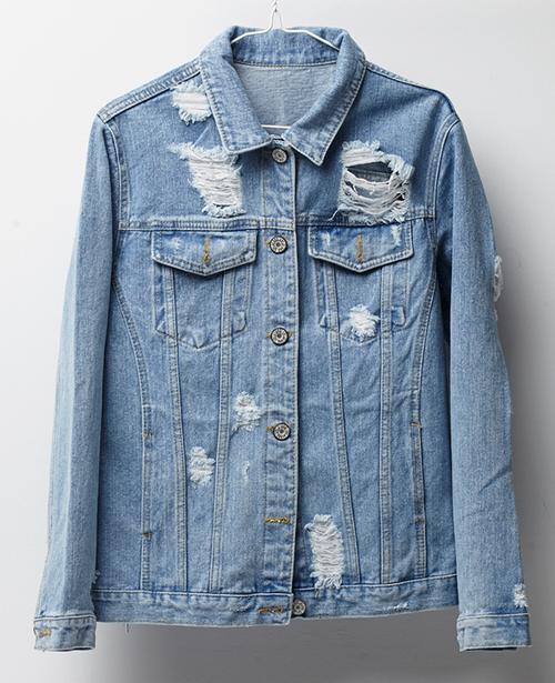 Mens destroyed jean jacket