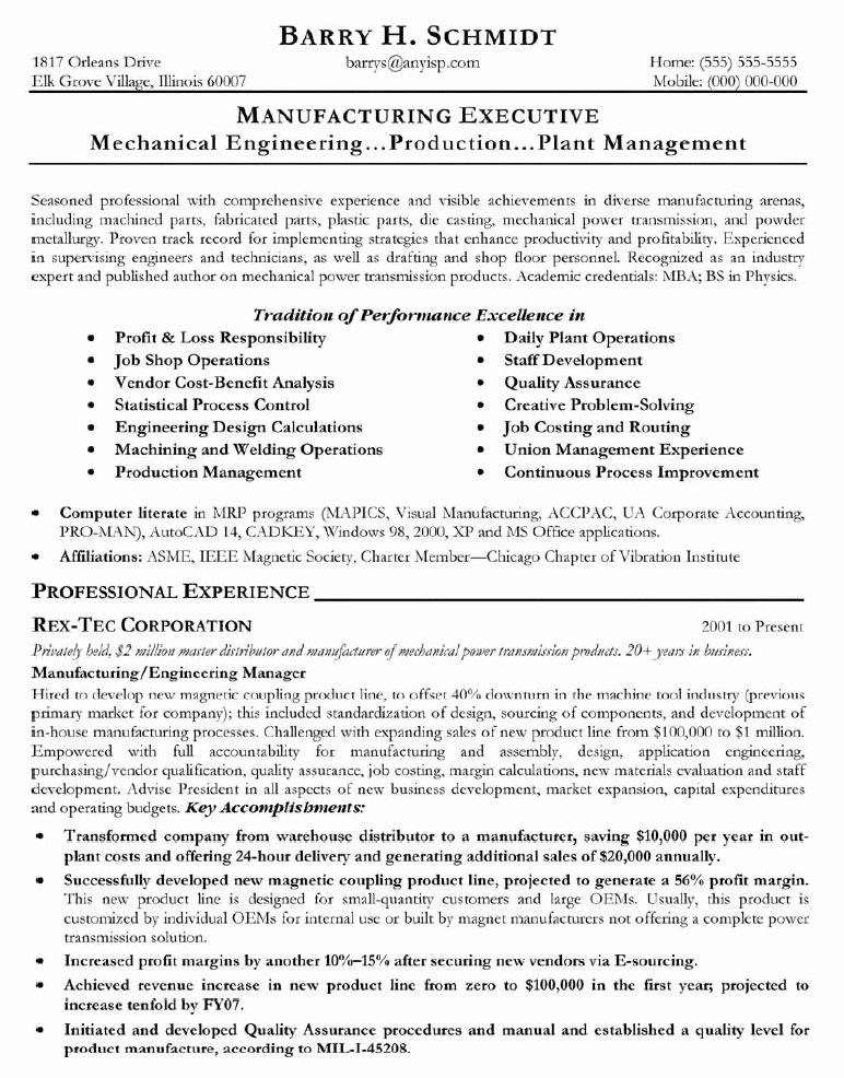 Engineering Project Manager Resume Lovely 13 Sample Resume For Project Manager In Manufacturi Project Manager Resume Resume Writing Samples Job Resume Examples