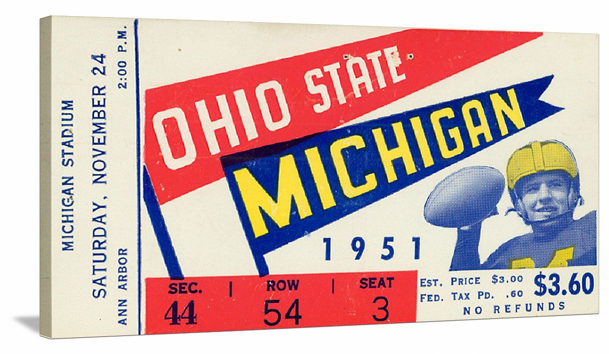Michigan Football Art 1951 Ohio State Vs Michigan Football