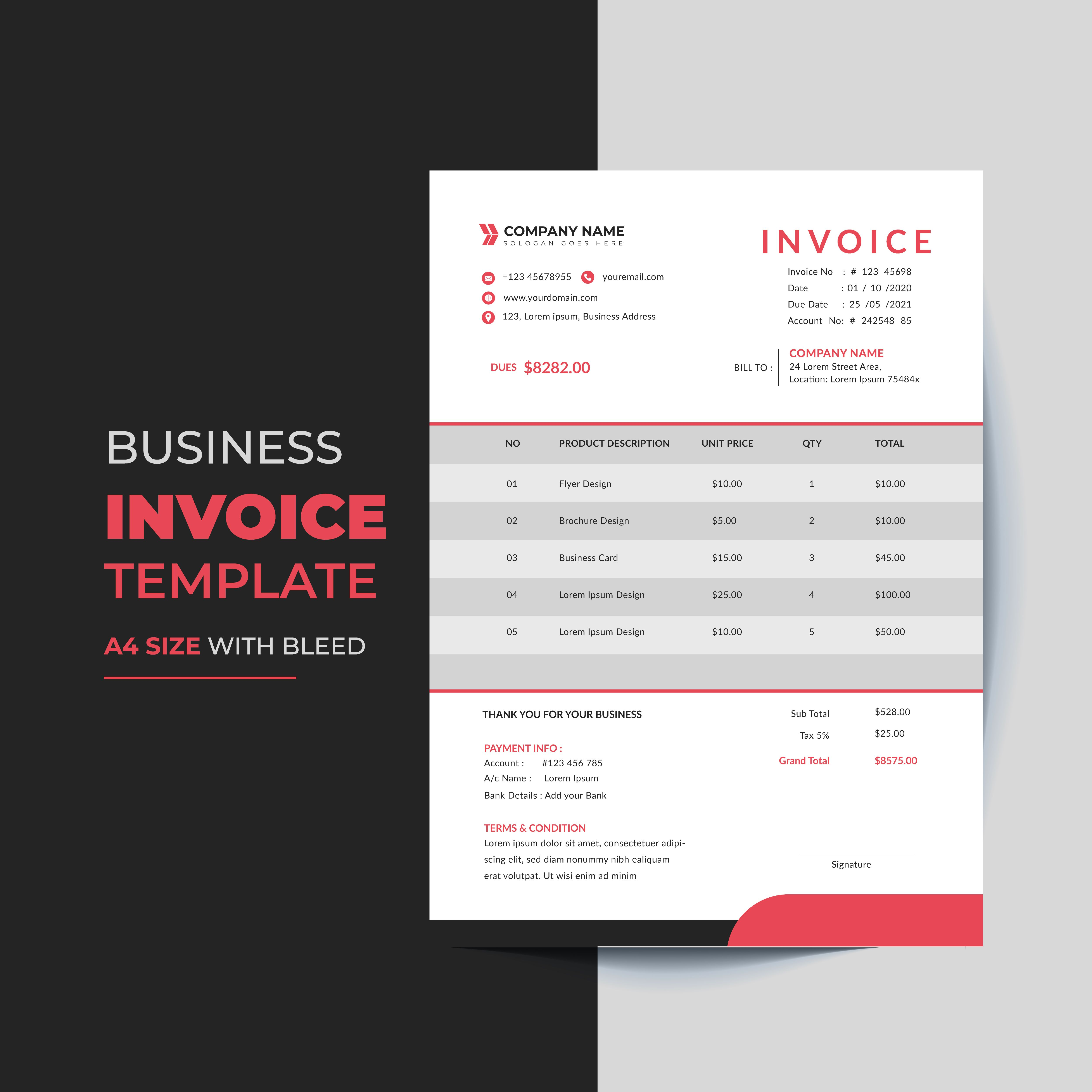 The Modern And Minimal Invoice Template Format Invoice Template Banner Ads Design Adwords Banner