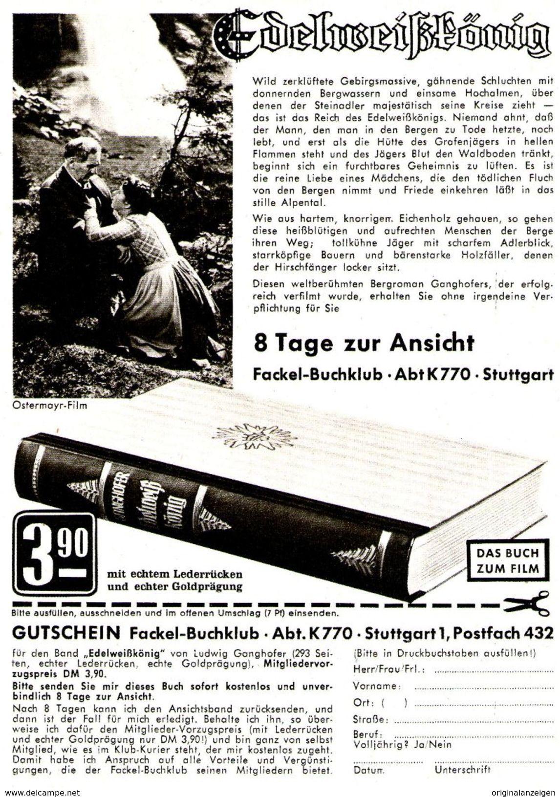 Original-Werbung/ Anzeige 1962 - FACKEL BUCHKLUB STUTTGART/ MOTIV EDELWEISSKÖNIG- FILM PETER OSTERMAYR - Ca.120 X 170 Mm - Werbung