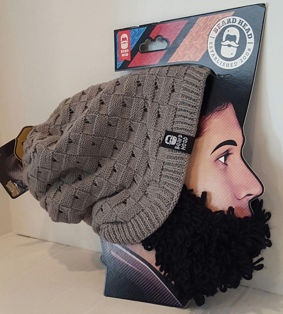 f85578f9668 Beard Head Hat Beanie Curly Atticus Gray Slouch Style Black Removable Beard  New  BeardHead