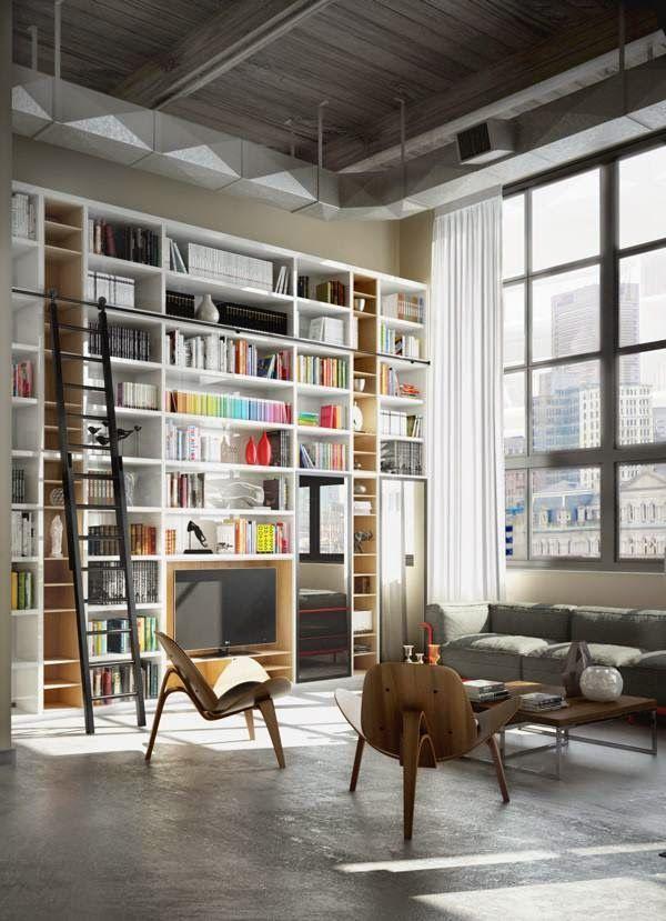 Home trotter loftliving casa home library design for Appartamento design industriale