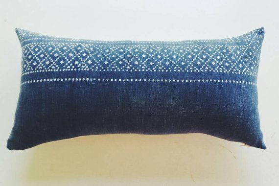 Blue Chinese Batik Lumbar Pillow Cover - Indigo Boho Pillows - Bohemian Throw Pillows