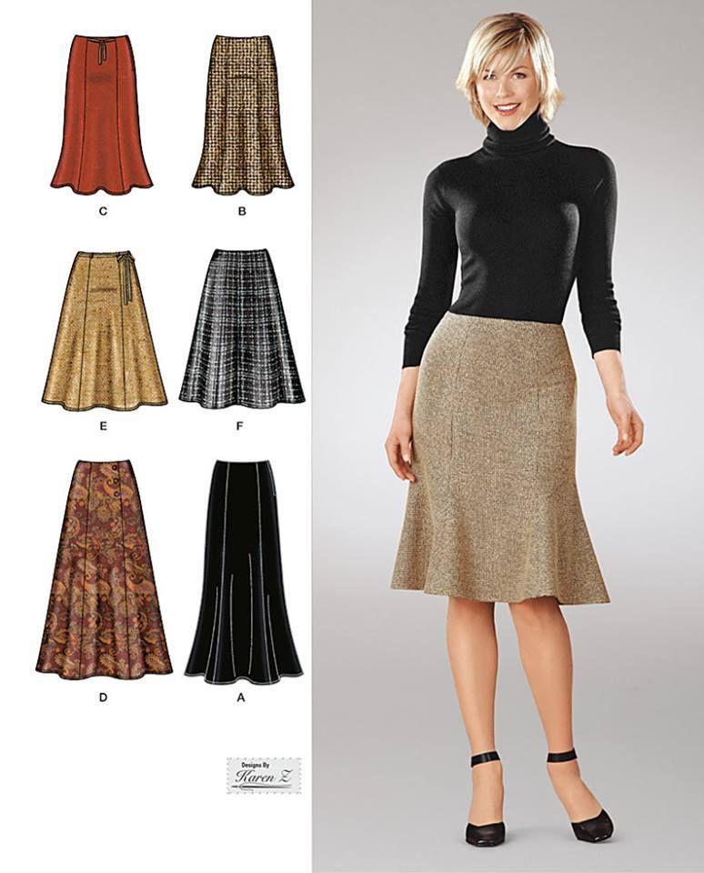 Couture Sur Mesure Quebec Simplicity 1560 Modele De Jupe Jupe A Motifs Jupe Trompette