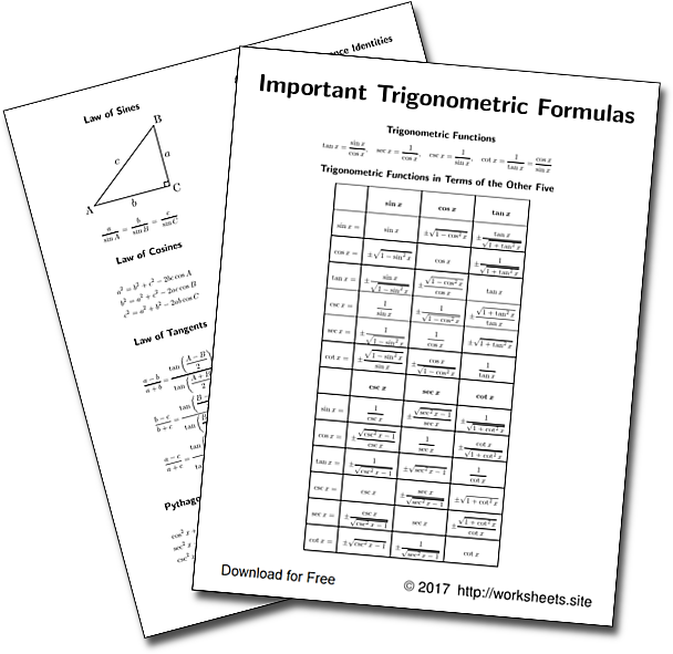 Free Trigonometry Cheat Sheet. Compilation of all