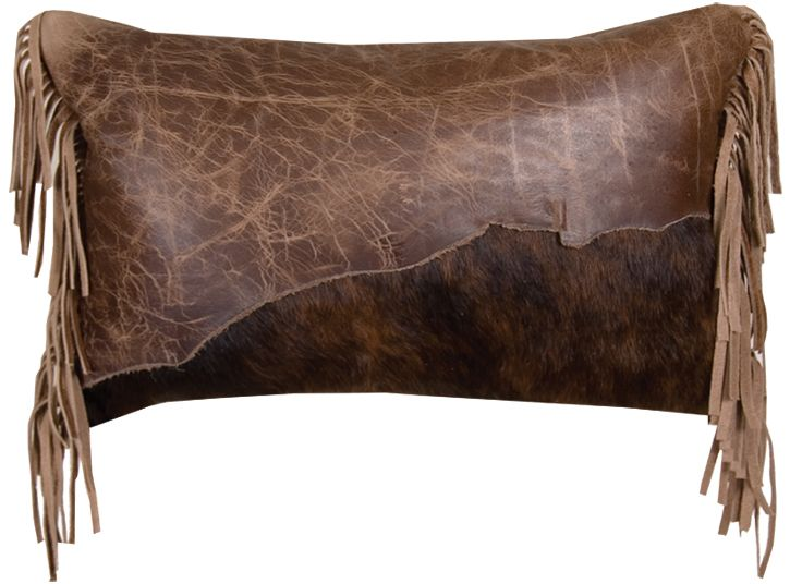 Leather /& Cowhide Hand Laced Accent Throw Pillow With Fringe