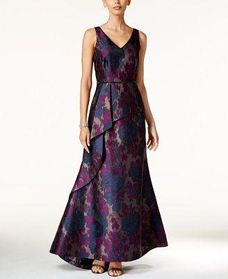 Tahari Asl Fl Print Jacquard A Line Gown