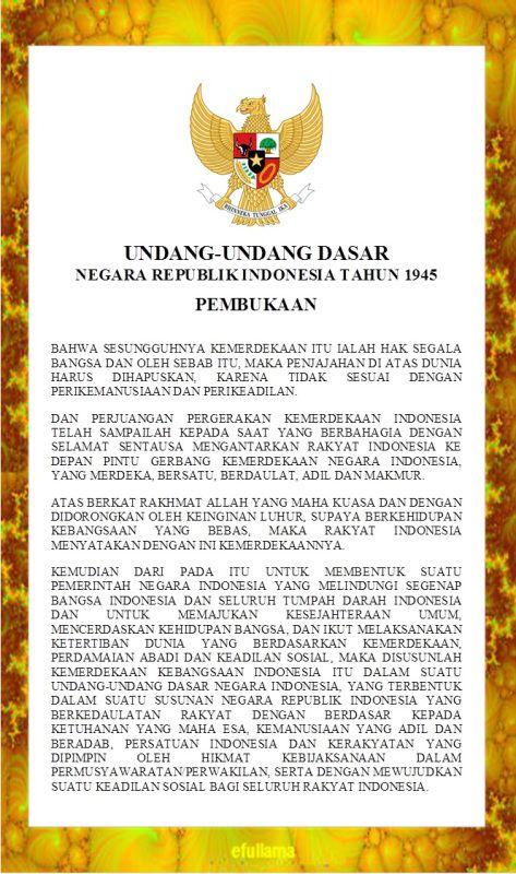 Teks Pembukaan Uud 1945 Jenis Huruf Tulisan Tokoh Sejarah Lambang Negara