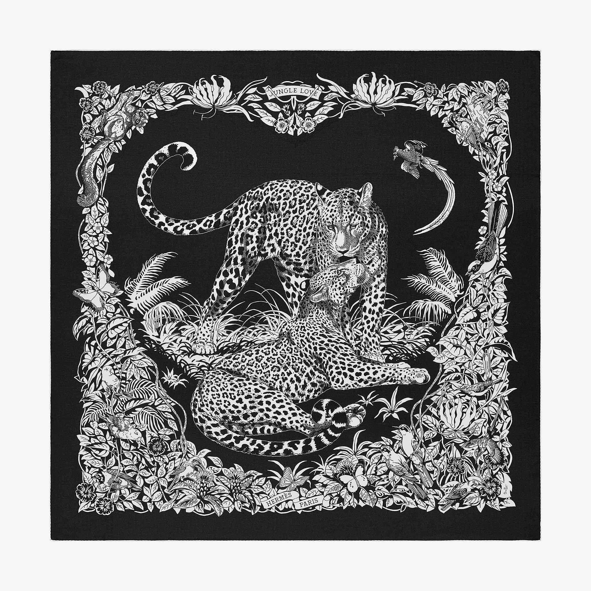 Châle 140 Jungle Love Tattoo   Noir   Hermes, Cachemire et Noir d3f022a49fa