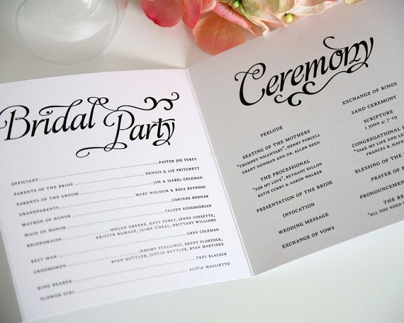 Booklet Wedding Ceremony Program Paper Goods
