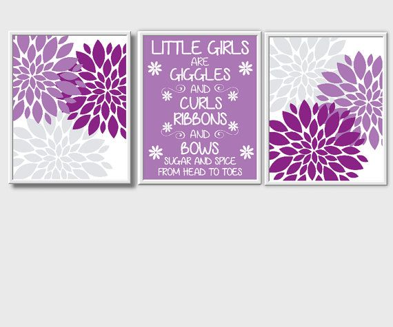 Purple Teal Floral Wall Art Sugar and Spice Baby Girl Nursery Decor Prints Flowers 3 UNFRAMED PRINTS