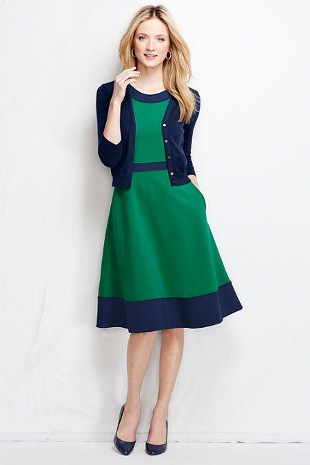 Women's Ponté Pieced A-line Dress - Colorblock from Lands' End ...