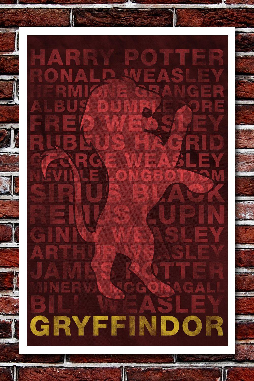 Gryffindor House Banner   Harry Potter Art Print   11x17. $12.99, Via Etsy.