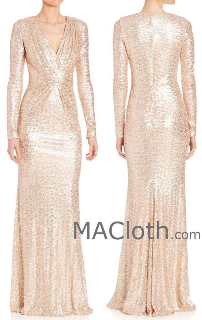 004a50952ba MACloth Women Long Sleeves V Neck Sequin Rose Gold Evening Gown Wedding  Formal…