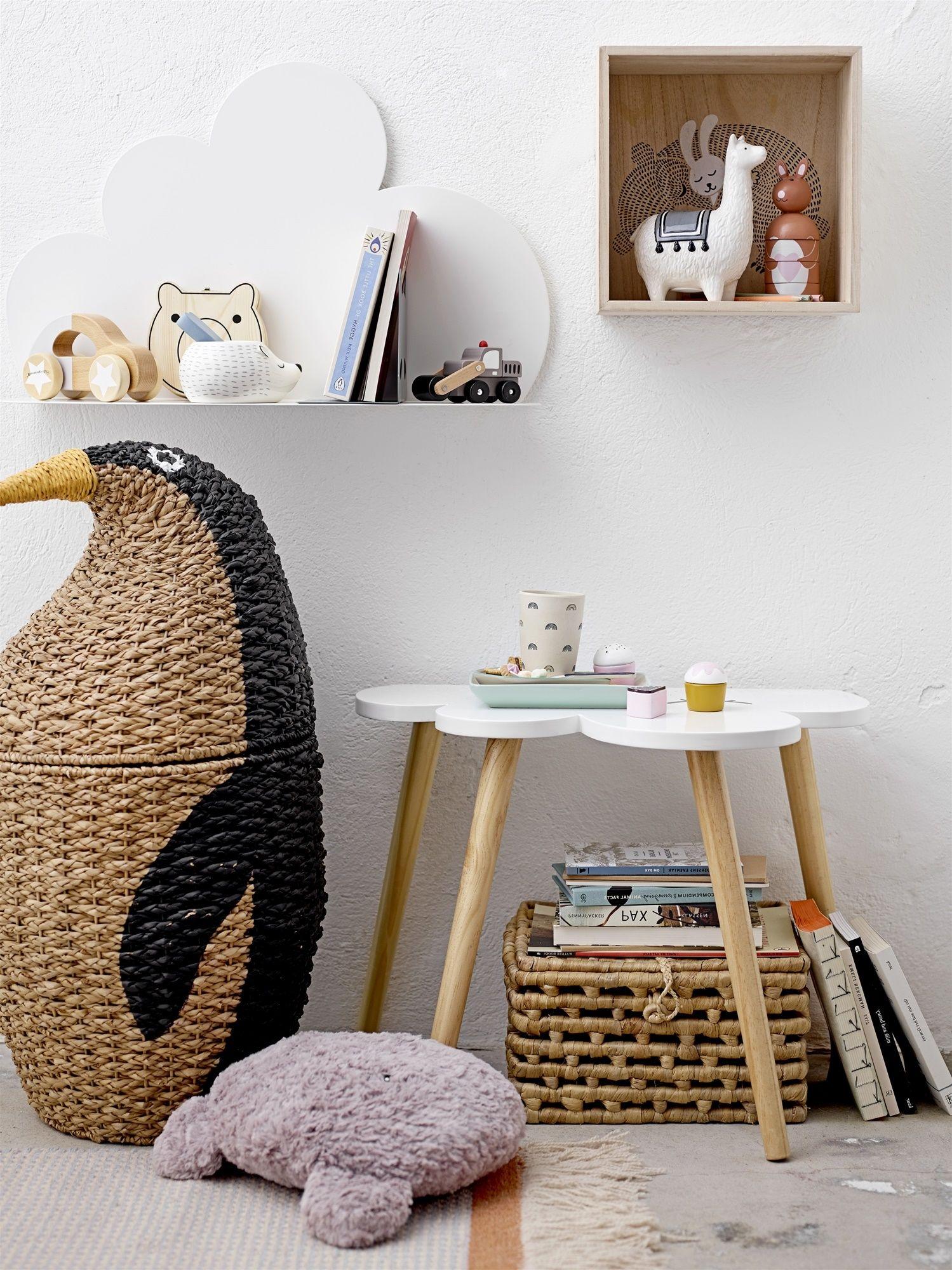 Aufbewahrungskorb mit Deckel Pinguin natur Aufbewahrung