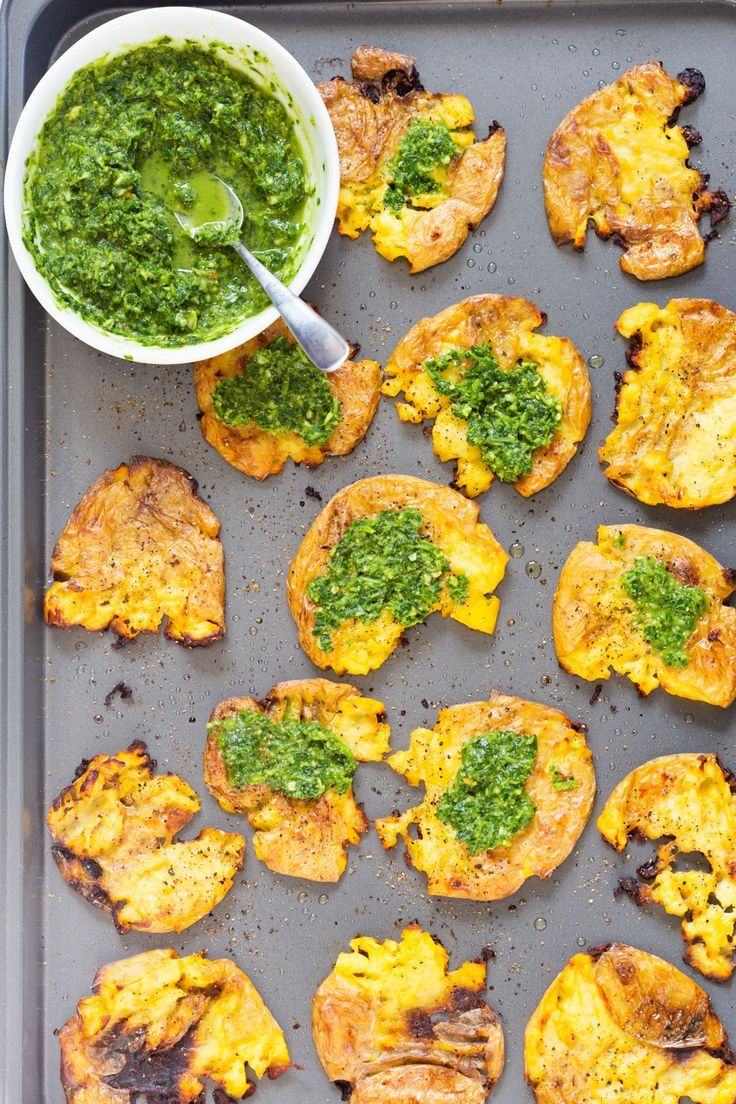 Crispy Vegan Smashed Potatoes with Chimichurri Crispy Vegan Smashed Potatoes with Chimichurri. These Smashed potatoes are baked to a crisp and served with fresh homemade parsley chimichurri.
