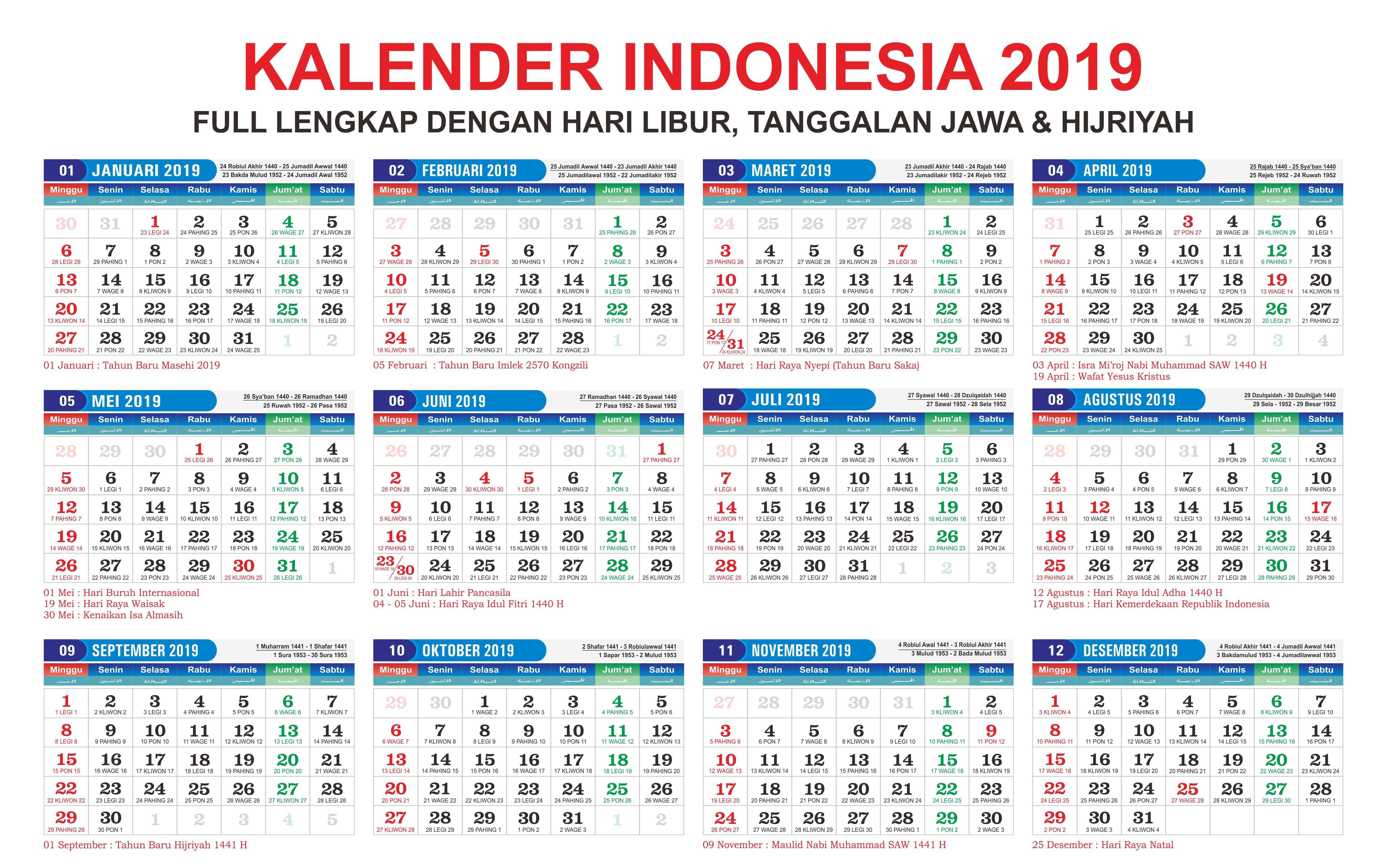 Jadwal Libur Nasional Dan Cuti Bersama 2019 Kalender