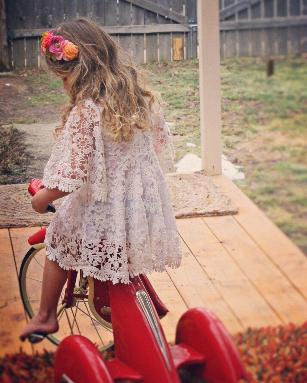 84175df9cb6c White Dress Boho flower girl Dress Easter Dress sleeve dress Toddler  Dresses Lace Dress Bohemian wedding