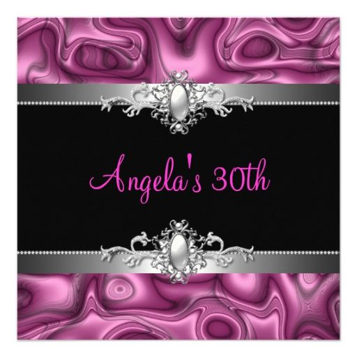 30th birthday party pink silver black abstract invitations 30th birthday party pink silver black abstract invitations filmwisefo Image collections