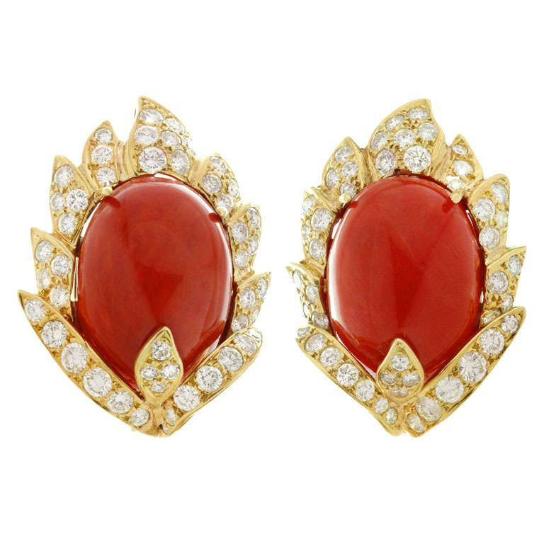 7b339a5af VOURAKIS Natural Oxblood Coral Diamond Yellow Gold Clip-on Earrings | From  a unique collection