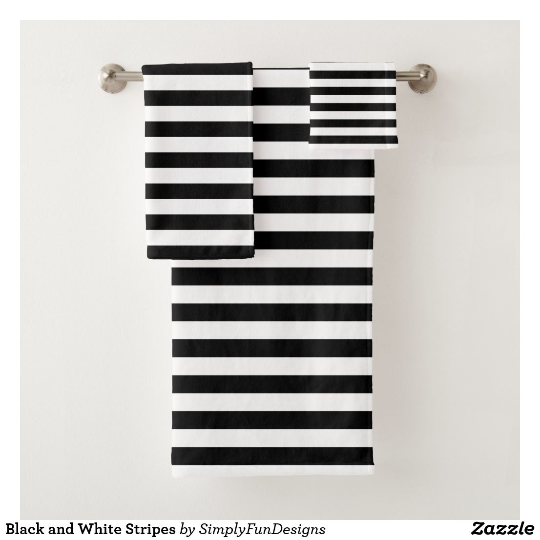 Black And White Stripes Bath Towel Set Zazzle Com Towel Set