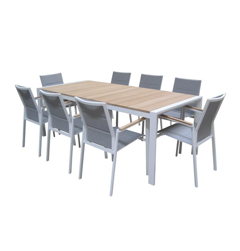 Copenhagen Outdoor Dining Table 2200 White Powder Coated Aluminium T Outdoor Dining Furniture Outdoor Living Furniture Contemporary Outdoor Lounge Furniture