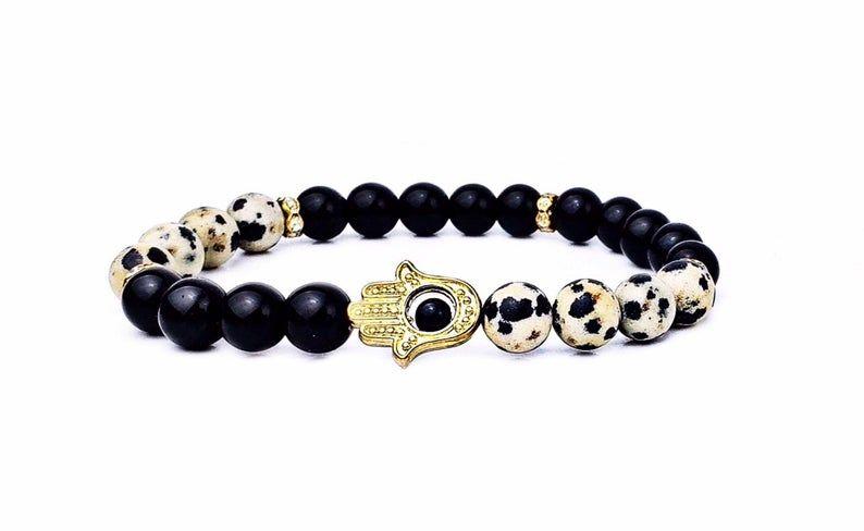 Gemstone Jewelry Matte Black Bling Bracelet Set Cross Jewelry Cross Charm Bracelet Black Onyx Healing Crystal Bracelet Set