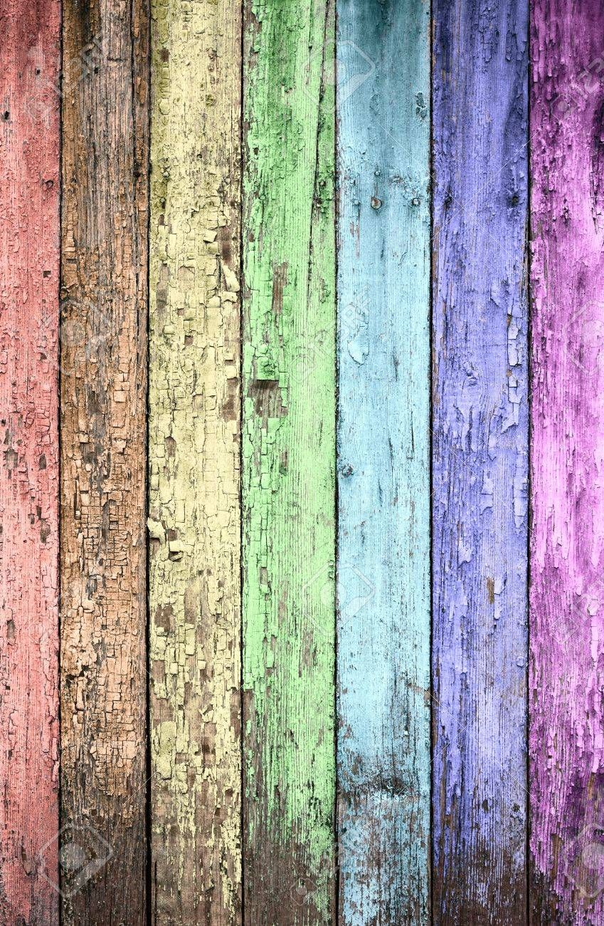 Aged Rainbow Painted Wooden Fence Naturally Weathered Rainbow Painting Wooden Fence Fence Art