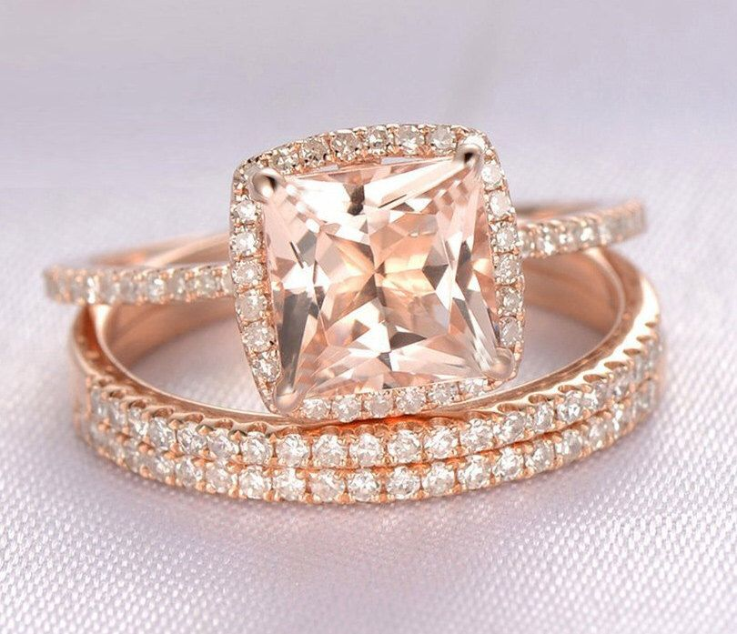 Layaway Partial Payment Trio Wedding Ring Set 2 Carat Morganite And Diamond