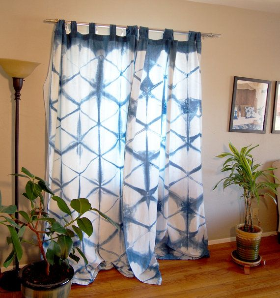 Tie Dye Curtains,Shibori Curtains,Blue And White Curtains,Set Of 2 Linen