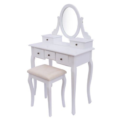 Homcom Antique Style Shabby Chic Dressing Table With Vanity Mirror U0026 Stool    White